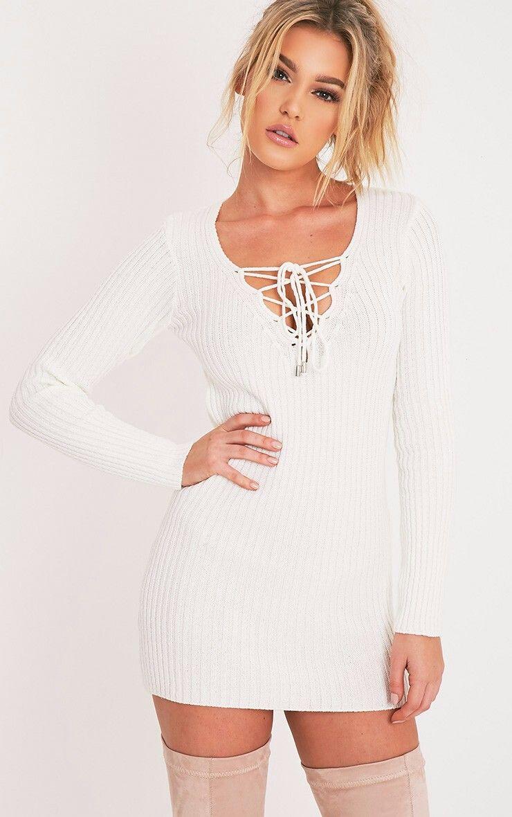 9fd53c7cd449 Lace up knit jumper dress