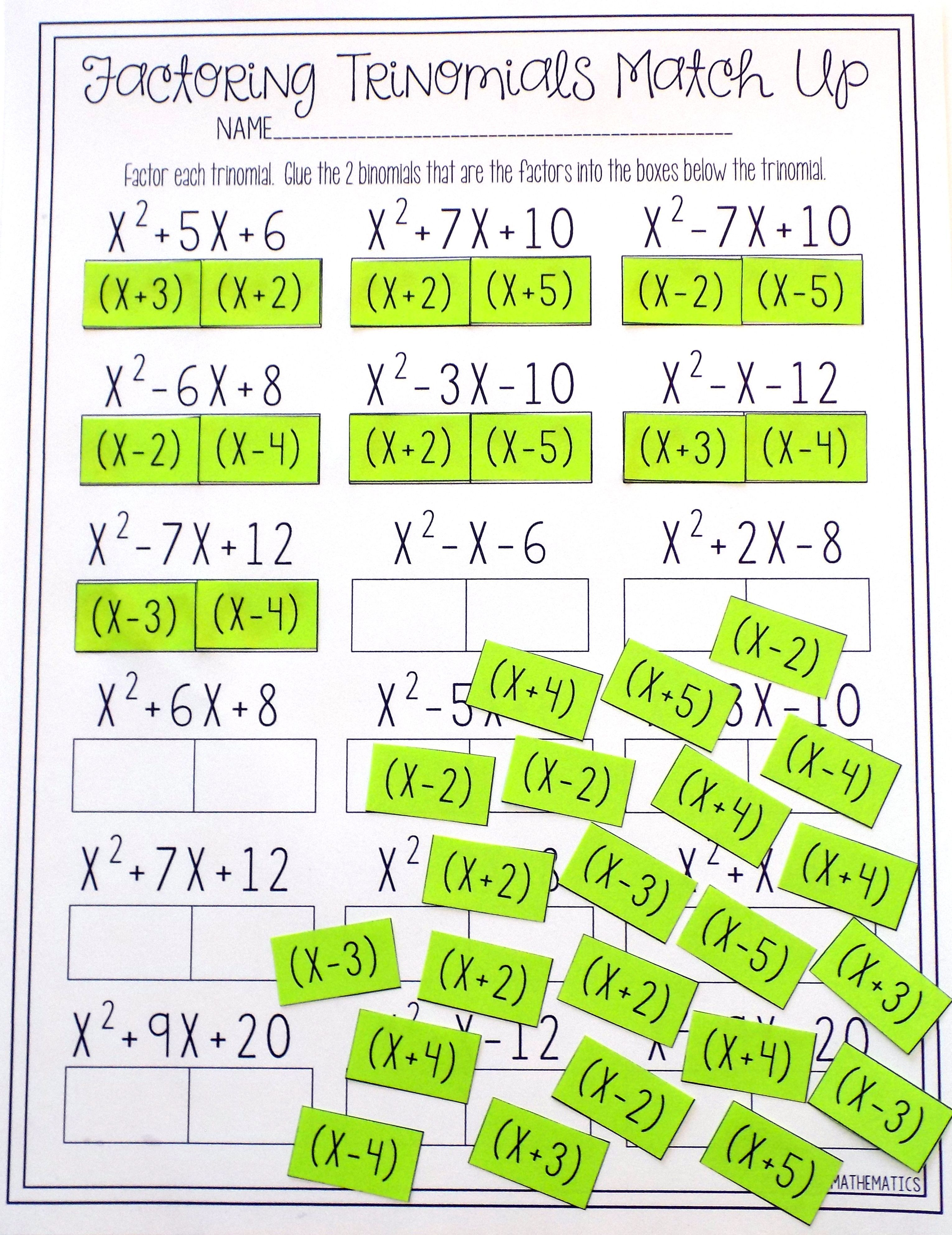 Factoring Polynomials Trinomials Activity