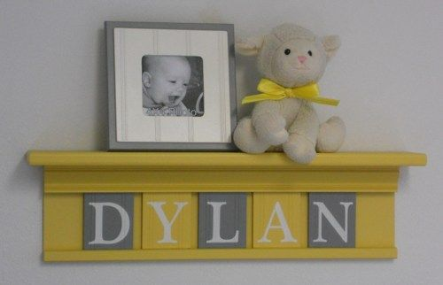 Yellow and Gray Baby Boy Nursery Shelf Wall Decor 5 Letters DYLAN ...