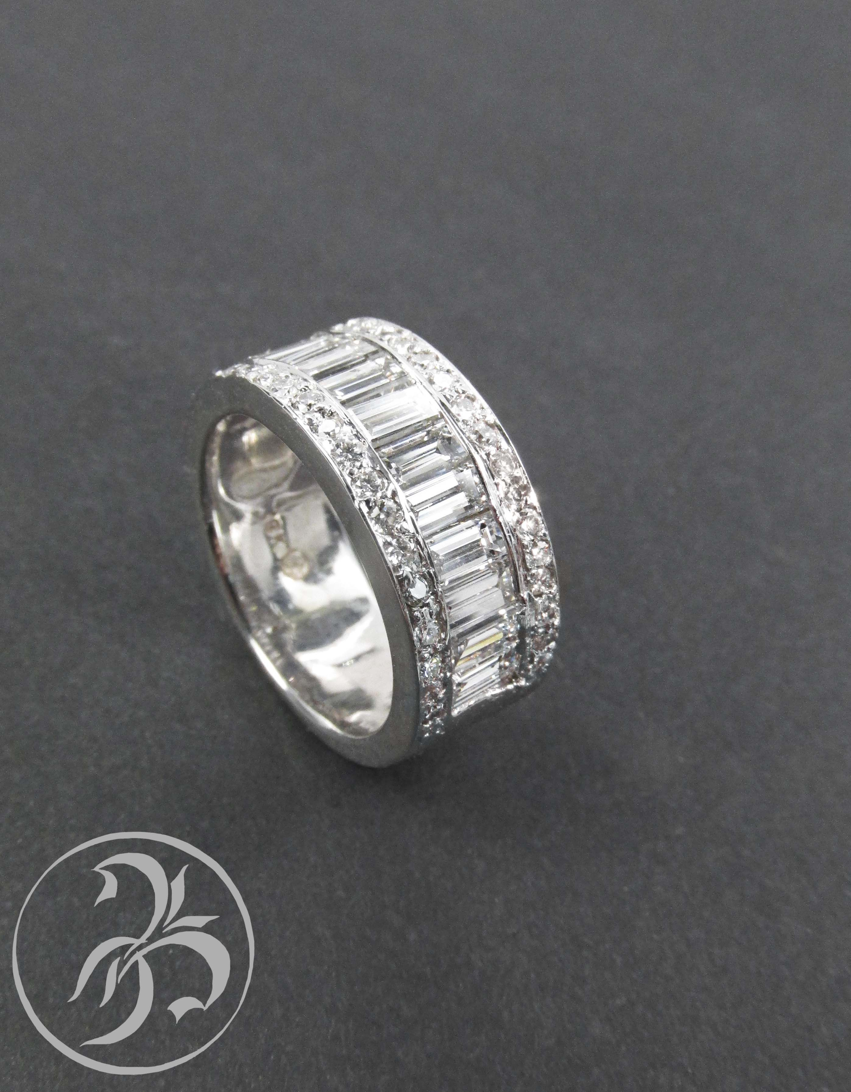 Estate Eternity Style 5 Carat VS Baguette Diamond Wedding Band