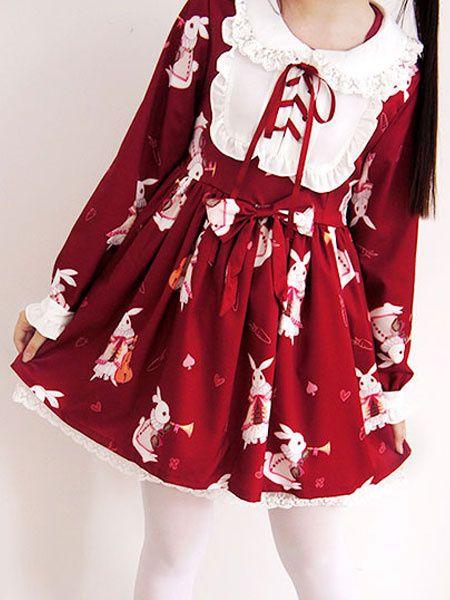 d944b62e34e0 Sweet Lolita Dress OP Burgundy Pleated Lace Up Animal Pattern Kawaii Dress  With Bow  opdress