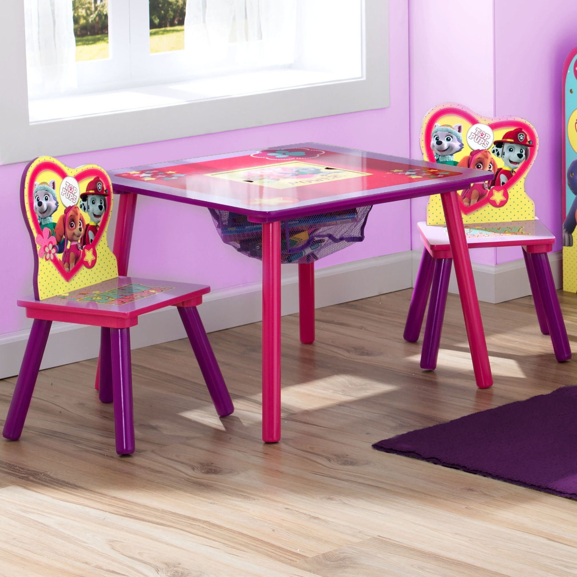 Nick Jr Paw Patrol Skye And Everest 3 Piece Table And