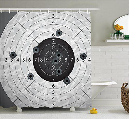 bathroom rugs ideas | military decor shower curtainambesonne gun