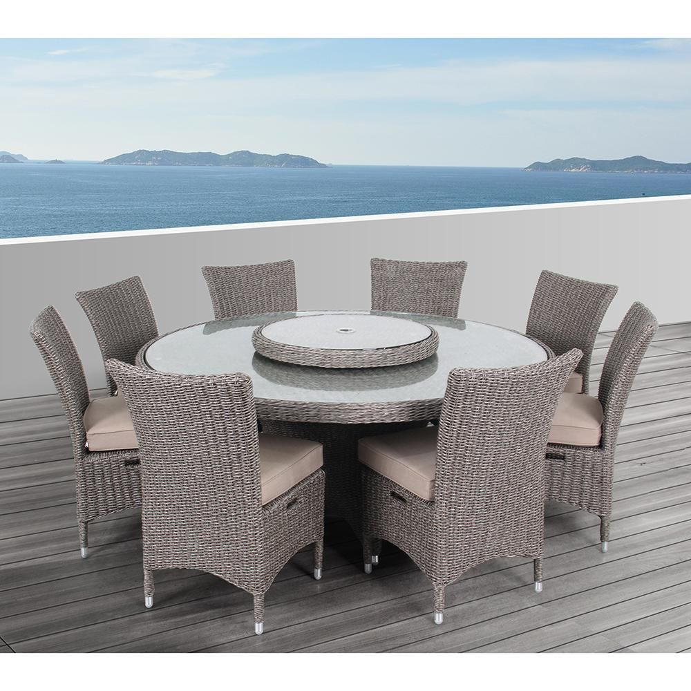 Ove Decors Habra Ii 9 Piece Aluminum Round Outdoor Dining Set With