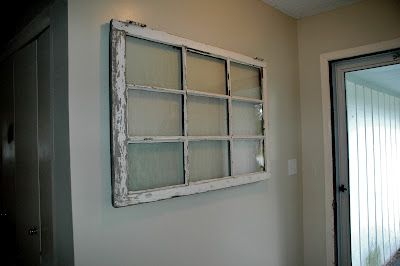 One Little Family Hanging A Heavy Window On The Wall Diy Window Old Window Projects Old Windows