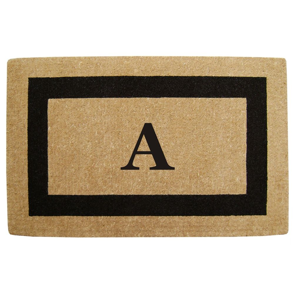 Heavy-duty Coir Single Black Picture Frame Monogrammed Doormat ...
