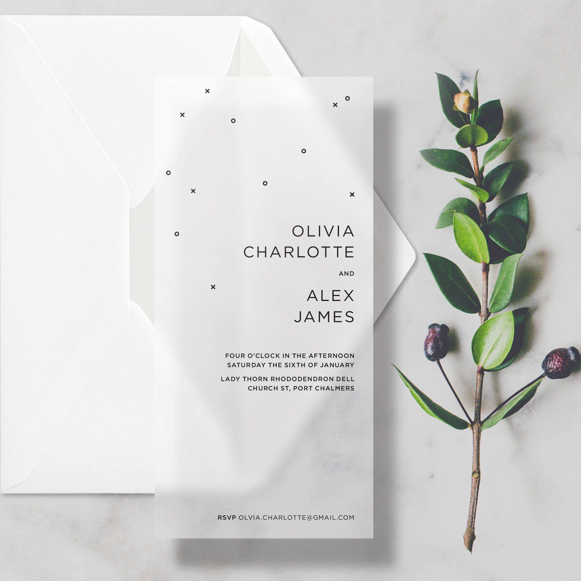 Sample Minimal Vellum Wedding Invitations Transparent Translucent