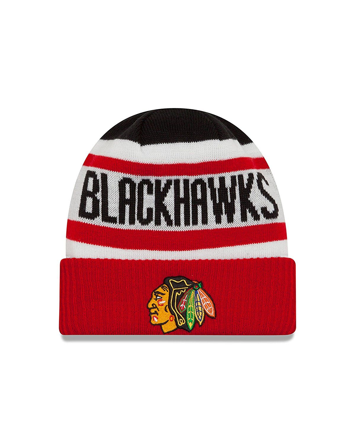 d81c33a4ea8 Chicago Blackhawks New Era NHL Biggest Fan 2.0 Cuff Knit Beanie ...