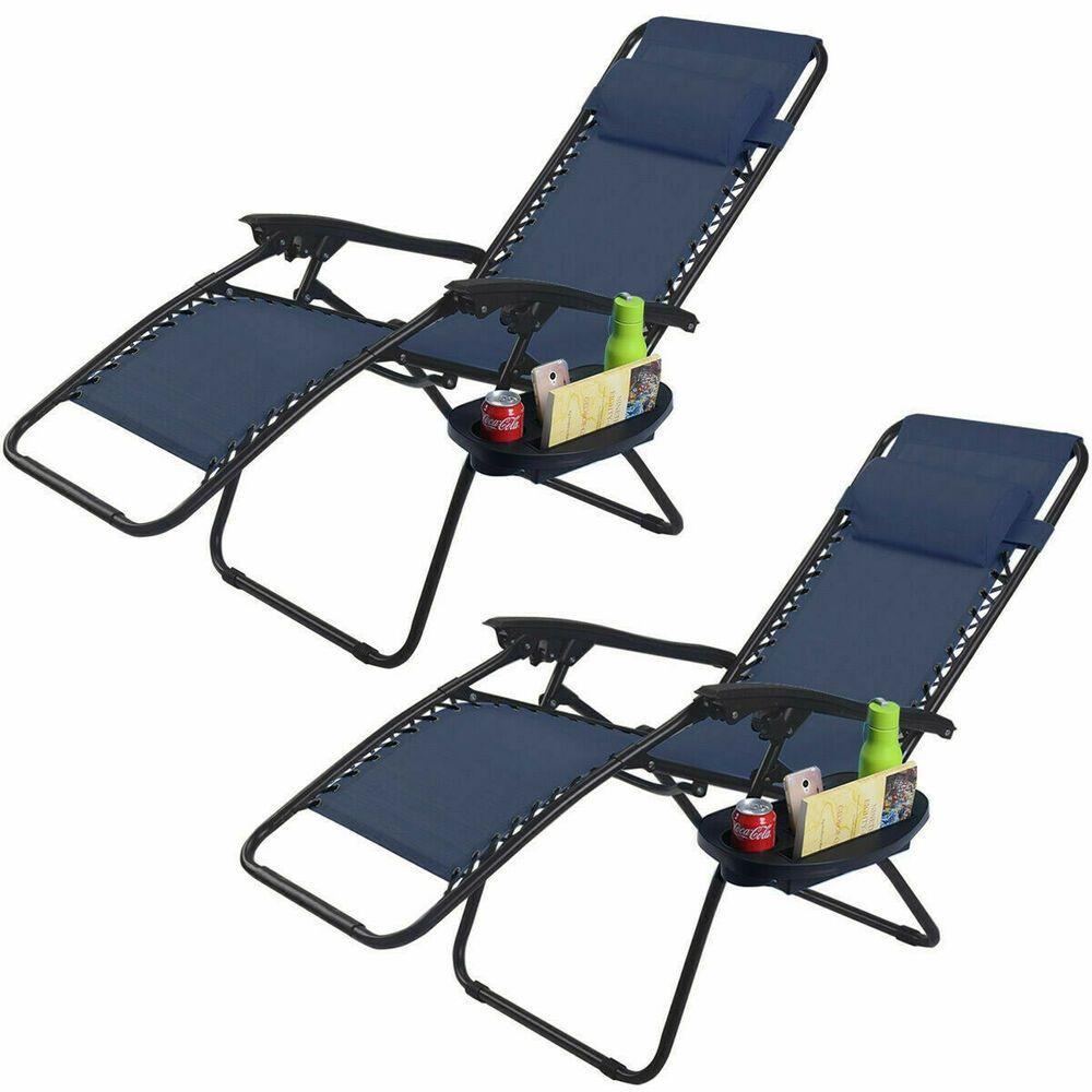 Details about Zero Gravity Chair Set Of 2 Chaise Lounge