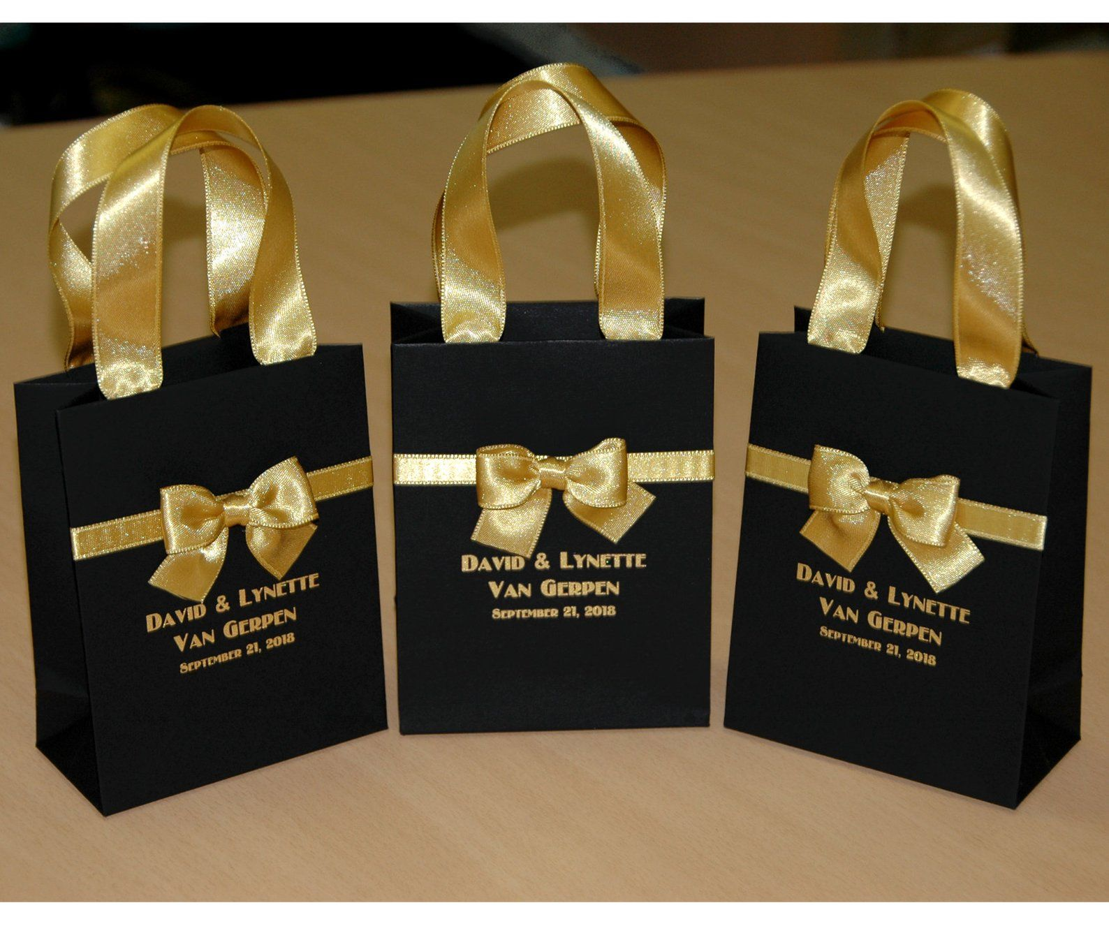 25 chic wedding gift bags with satin ribbon handles bow