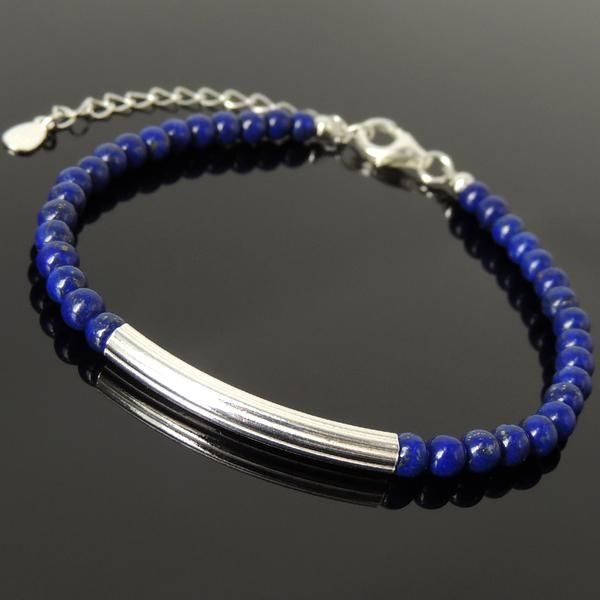 Photo of 4mm Lapis Lazuli Healing Gemstone Bracelet with S925 Sterling Silver Elegant Charm, Chain & Clasp – Handmade by Gem & Silver BR1256