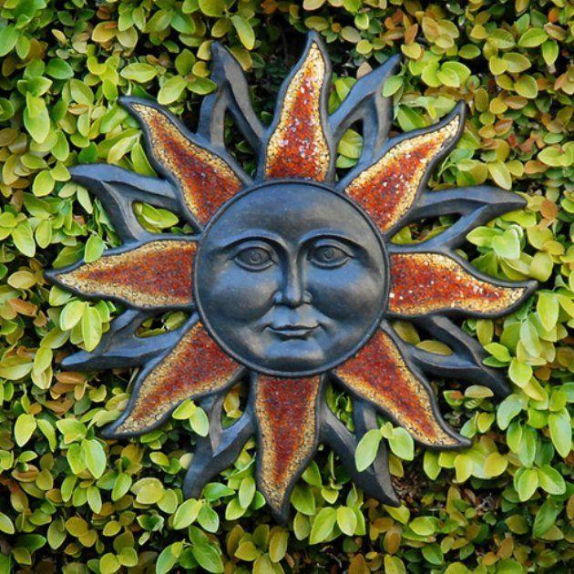 Outdoor Wall Art Sun Face Design