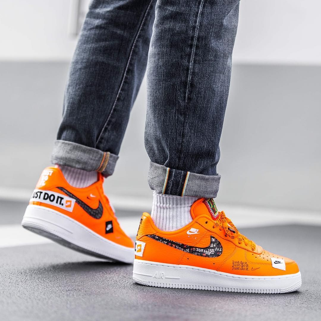 brand new f4d2b db69f Release Date   June 28, 2018 Air Force 1 `07 Premium « Just Do It » Orange    Black   White Credit   Afew
