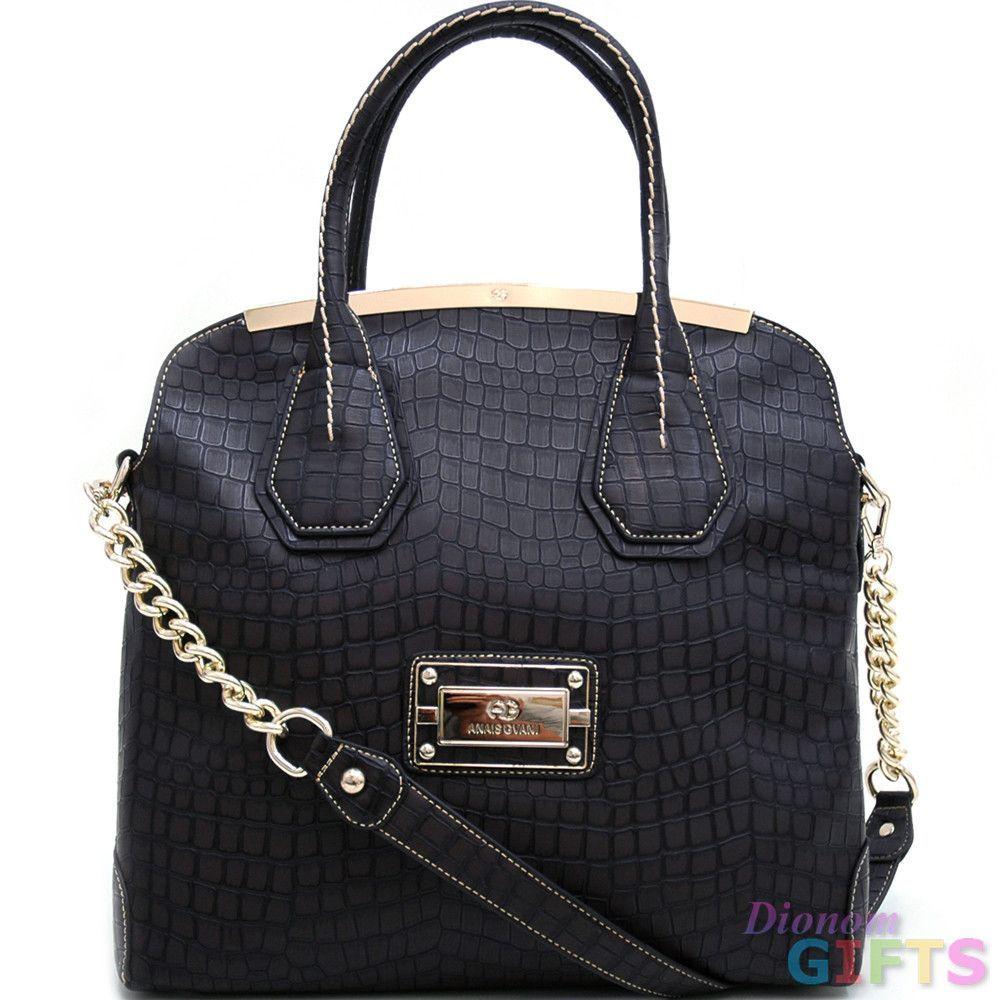 Large Gold-Trimmed Croco Tote Bag - Black Color: Black