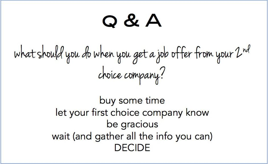 what to do when you get a job offer from your 2nd choice company