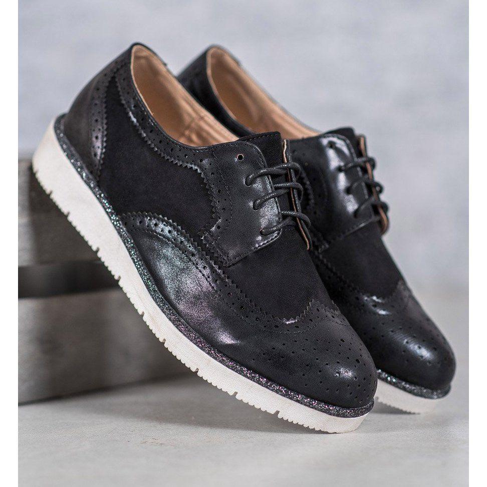 Zamszowe Polbuty Vices Czarne Women Shoes Suede Shoes Suede