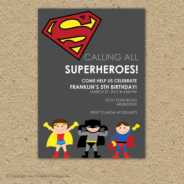 Custom super hero birthday party invitation - superman or batman ...