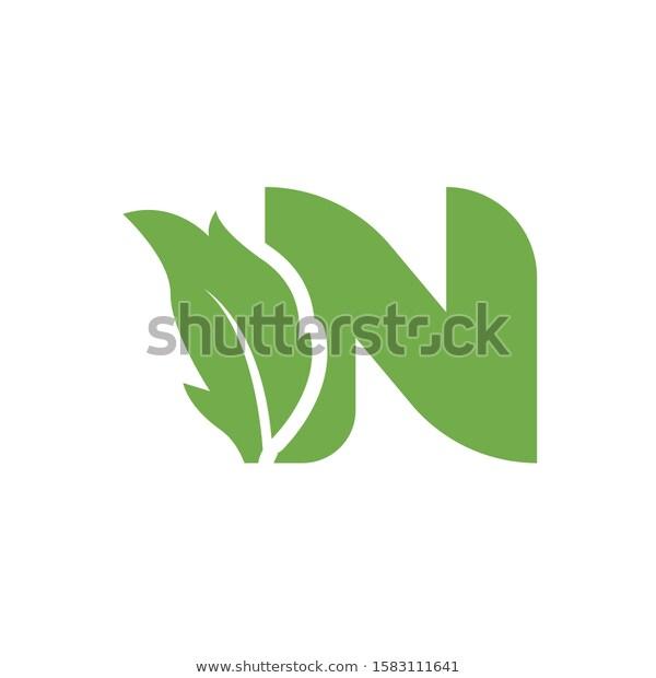Letter N Logo Design With Leaf N Logo Design Logo Design Natural Logo