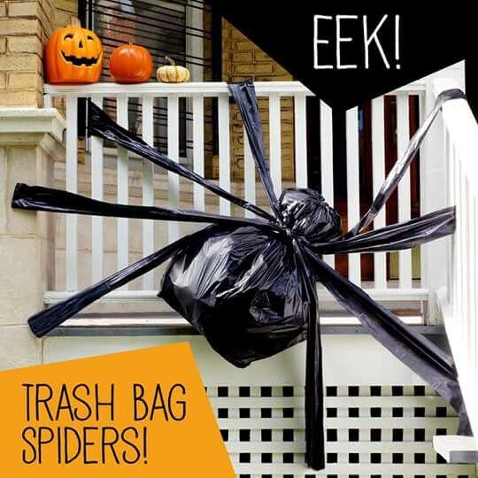 Trash Bag Spider Halloween Spider Decorations Halloween