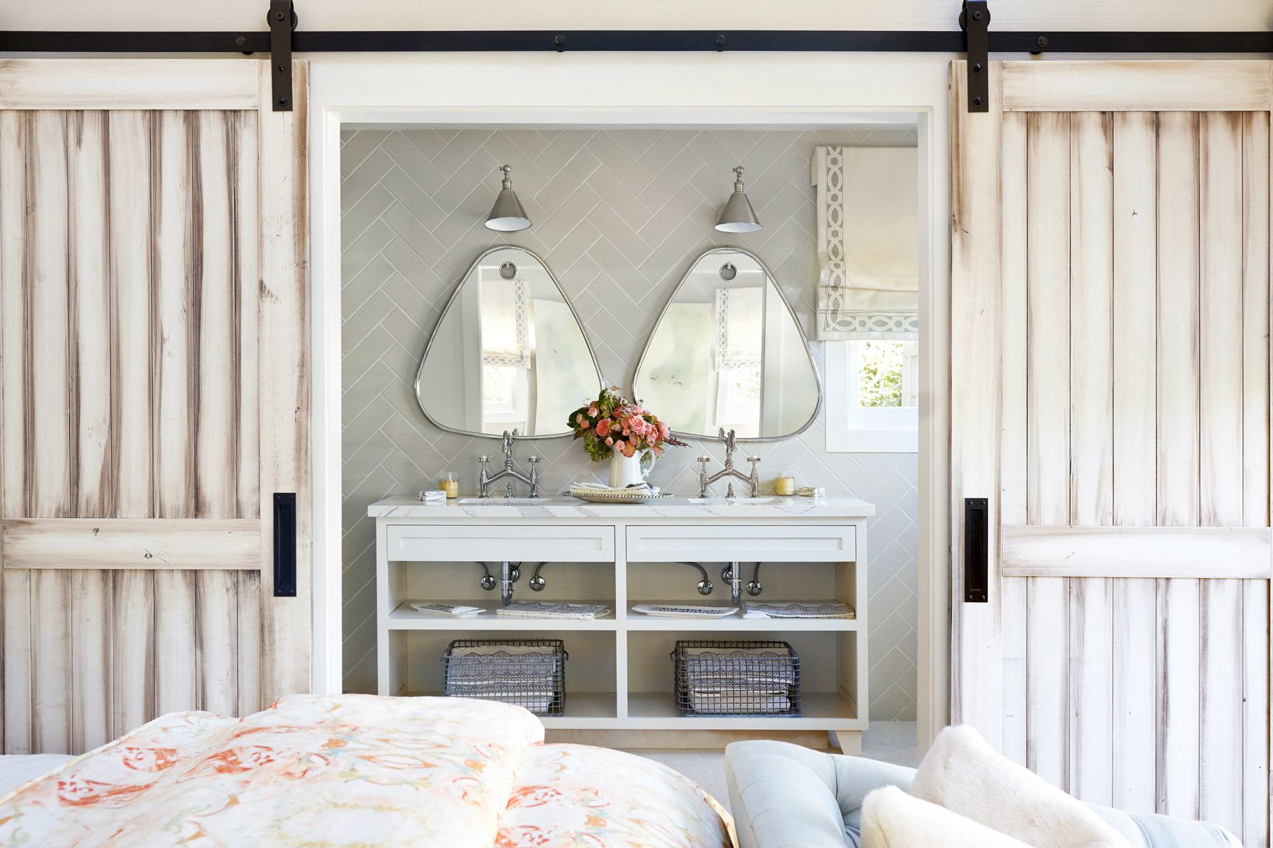 Master bedroom bathroom  Crossville helped the designer of this Napa Valley showhome helped