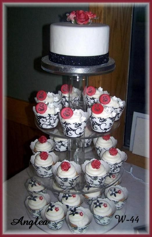 Black White Wedding Cake And Cupcakes With Red Accent Decorations By Rush City Bakery