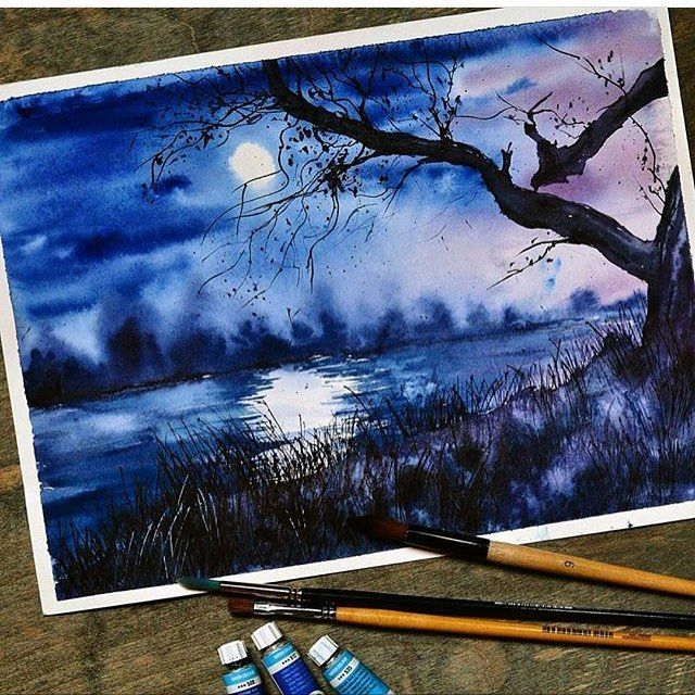 Dark Night In Watercolor Art Art Painting Landscape Paintings
