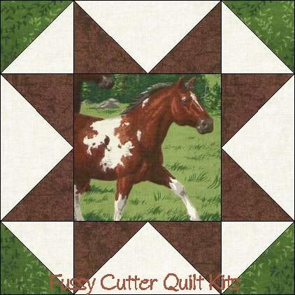 Colts Horses Mares Pony Stallion Fabric Easy Pre-Cut Quilt Blocks ... : pre cut quilt kits for beginners - Adamdwight.com