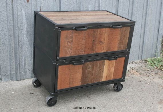 timeless design 509b9 f13b0 Reclaimed Wood File Cabinet. Industrial filing cabinet ...