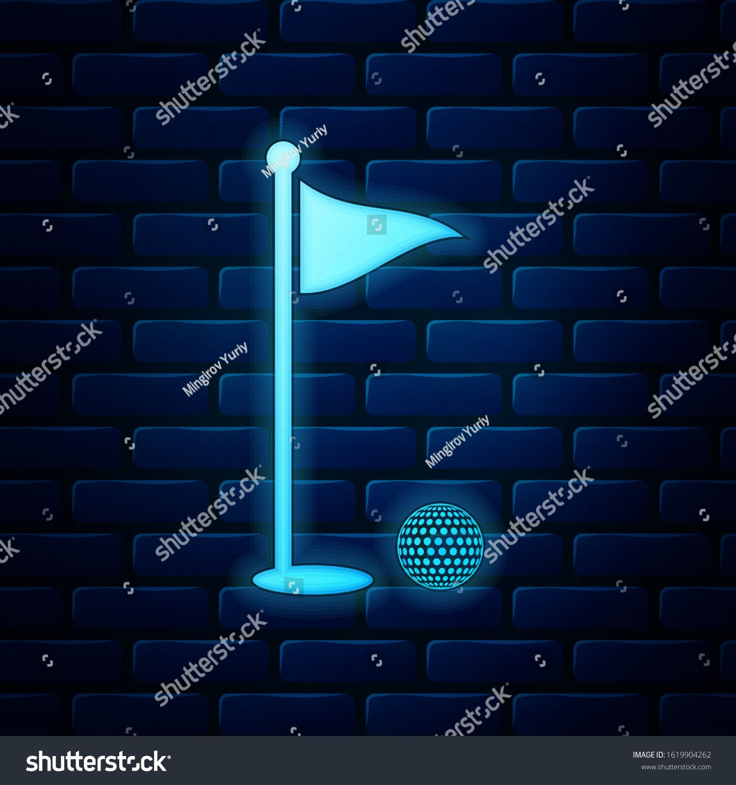Glowing Neon Golf Ball And Hole With Flag Icon Isolated On Brick Wall Background Golf Course Ball And Flagstick In Hole In 2020 Brick Wall Background Neon Flag Icon