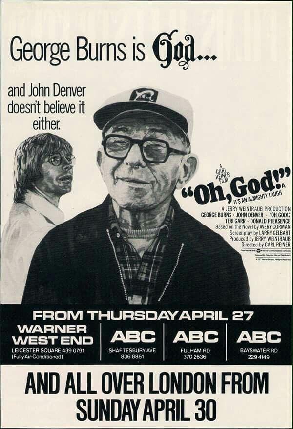 British Advertising Posterad For Oh God Movie John Denver