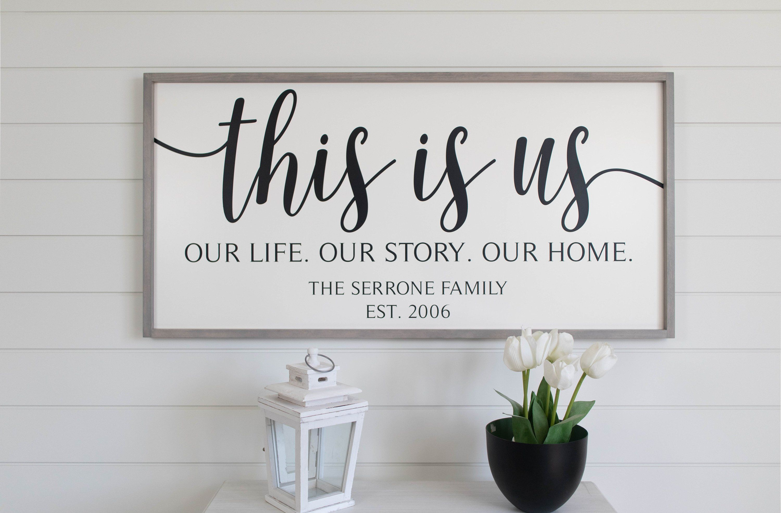 This Is Us Sign, Our Life Our Story Our Home Sign, Framed Wood Signs, Anniversary Gift, Family ...