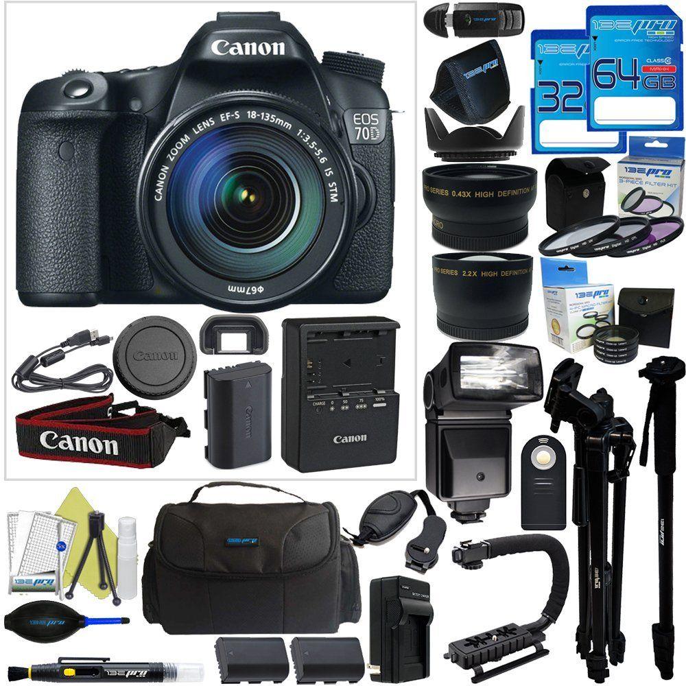 Canon Eos 70d Dslr Camera With 18 135mm F 3 5 5 6 Stm Lens Pixi Pro Accessory Bundle International Version No Warrant Best Digital Camera Dslr Camera Dslr