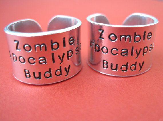 Zombie Apocalypse Buddy Ring Set Personalized by TesoroJewelry, $30.00