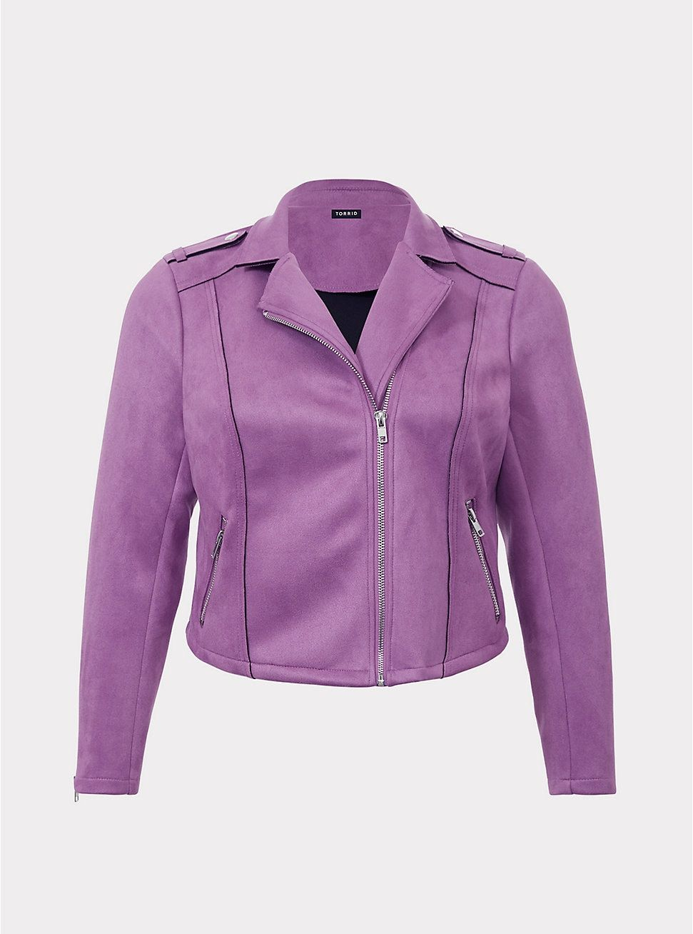8c450f559a2 Torrid  Purple Suede Moto Jacket