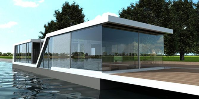 Attirant Small Modern Homes | Floating Tiny Glass Residence Modern Design On The  Water