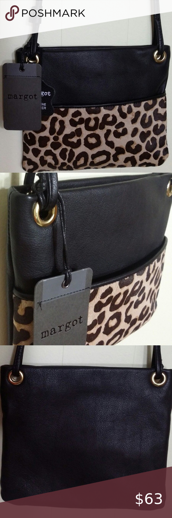 58c8c5e3b40fd7 Margot Black Leather Leopard Print Cow Hair Bag New with tag Margot Black  Genuine Pebbled Leather
