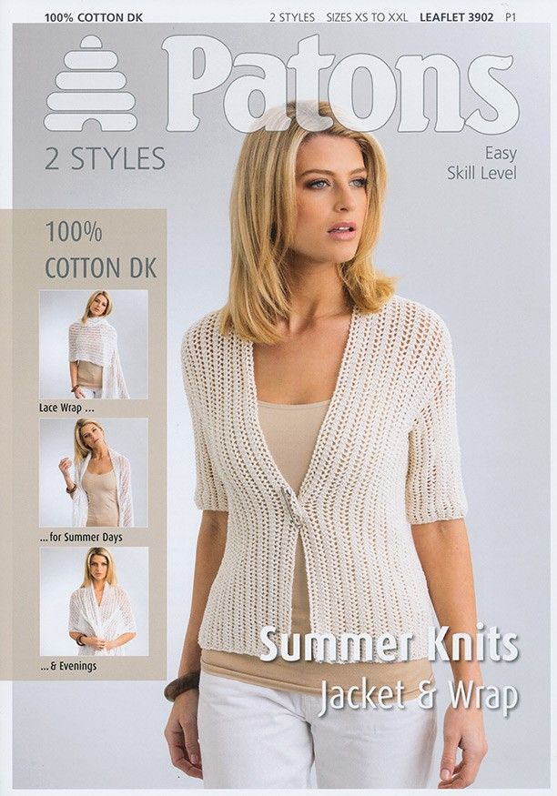 Jacket & Wrap in Patons 100% Cotton DK (3902) | Patons Knitting ...