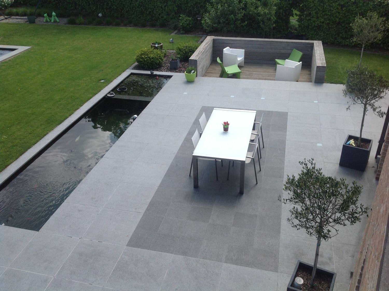 Verzonken terras (uit wind) naast gewone terras // idee voor linkerkant, avondzon?