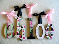 wooden letters covered with scrapbook paper and modge podge