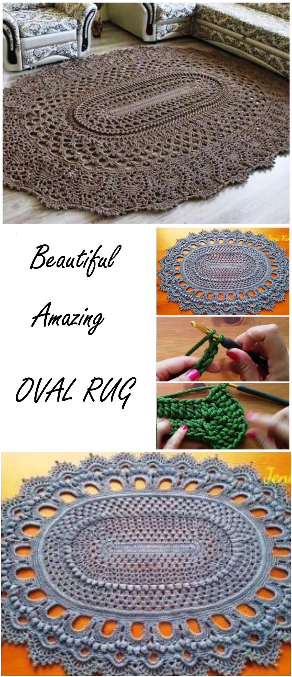 Amazing Oval Rug Tutorial | Pinterest | Oval rugs, Crochet and Patterns