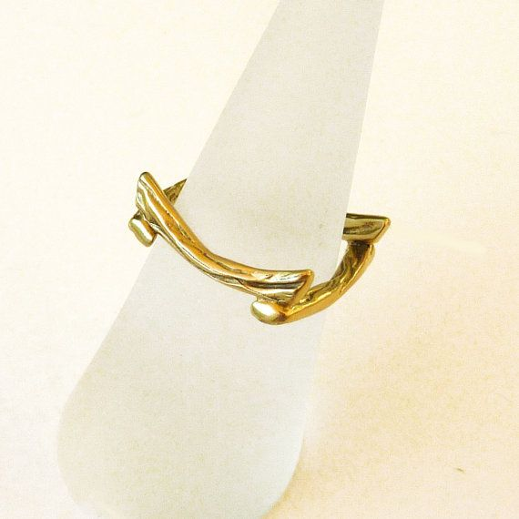 18K Gold Ring, Square Gold Ring, Solid Gold Ring, Pinkie ring - sz 5.0, Zen Nature Collection
