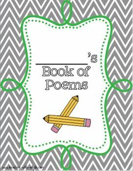 Poetry Book Cover  Freebie  Upper Grades    Book