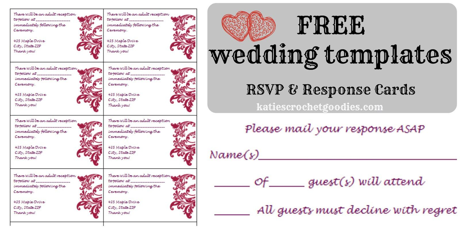 Free Wedding Rsvp Response Card Template Templat Wedding Invitations Printable Templates Rsvp Wedding Cards Free Wedding Templates