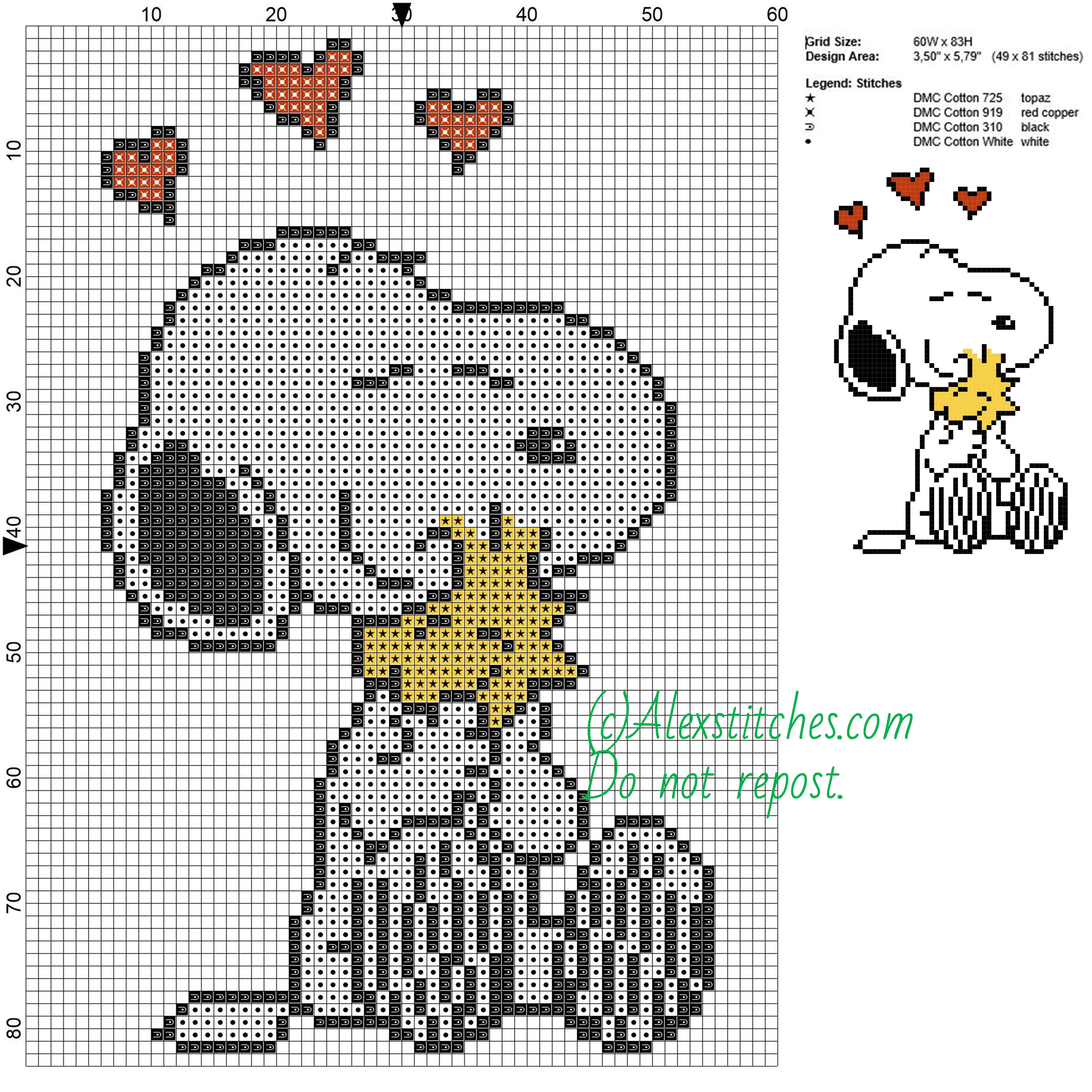 Snoopy and Woodstock free cartoons cross stitch pattern 60x83 4 ...