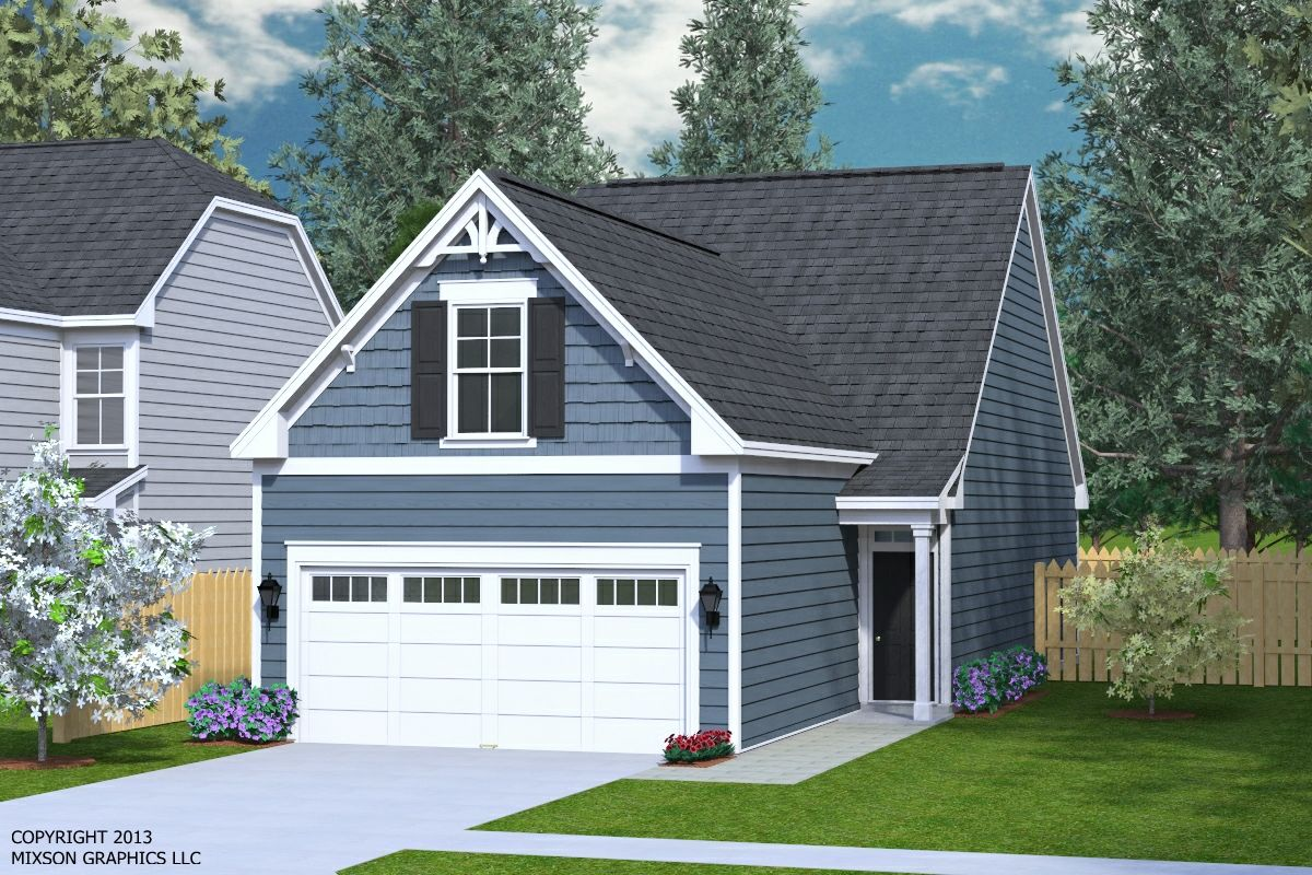 House plan 1481 b clarendon elevation b two story plan for House plans for wide but shallow lots