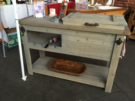 Outdoor Rustic Wooden Cooler Bar, Serving Or Console Table, Bar Cart Or  Mini Fridge Bar Cabinet And Patio Furniture