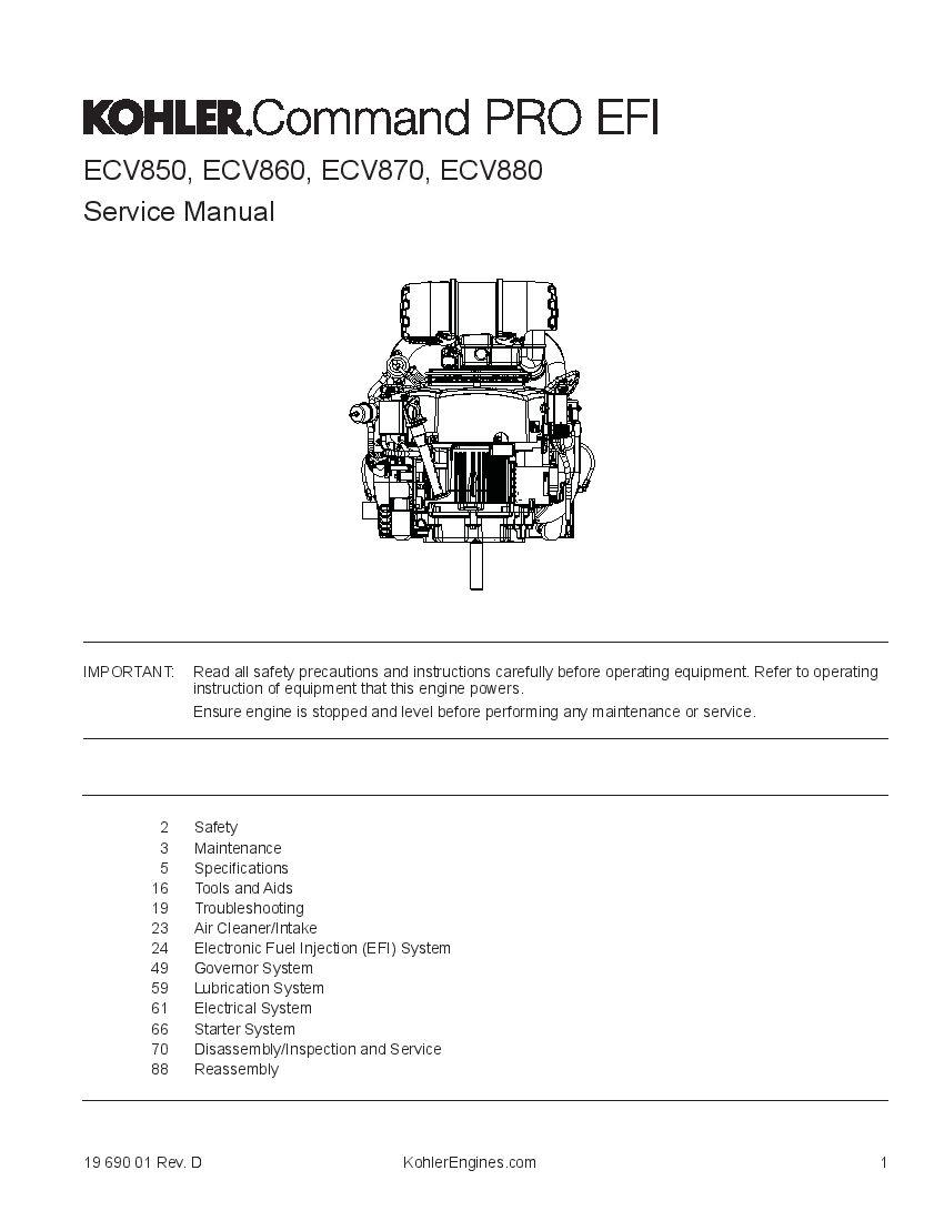 Kohler Ecv850 Ecv860 Ecv870 Ecv880 Engines Workshop Repair Service Manual Pdf Download In 2020 Manual Repair Manuals Repair