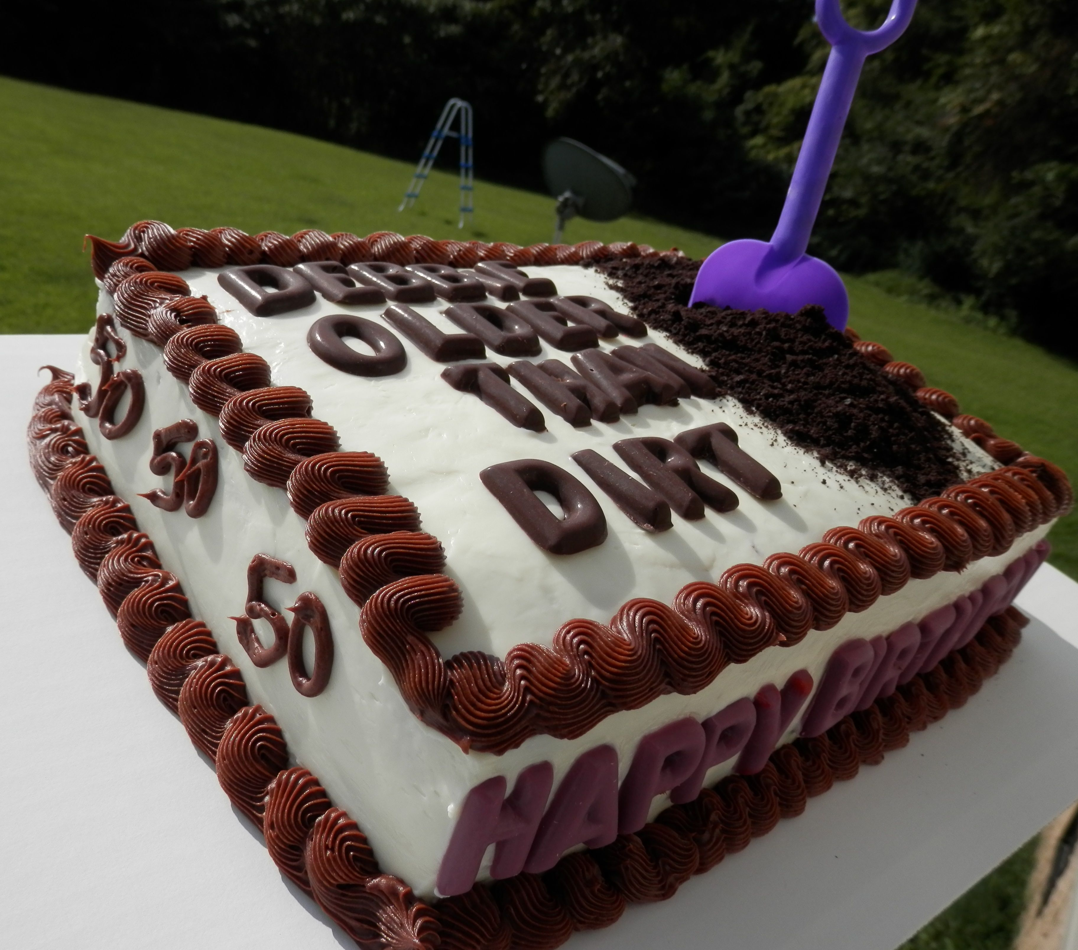 Older Than Dirt Birthday Cake (side)