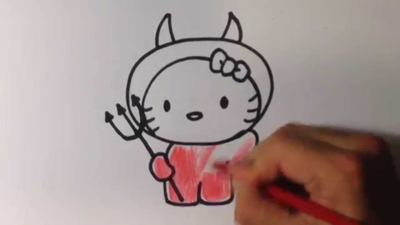 Hello Kitty Head Coloring Pages : How to draw hello kitty devil halloween drawings drawart
