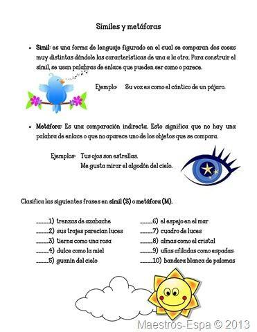 practica-simil-y-metafora | Spanish - Lenguaje Figurado | Pinterest ...